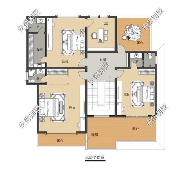 5款精美的中式别墅设计,新颖大气、实用舒适,效果图+平面图-34.jpg