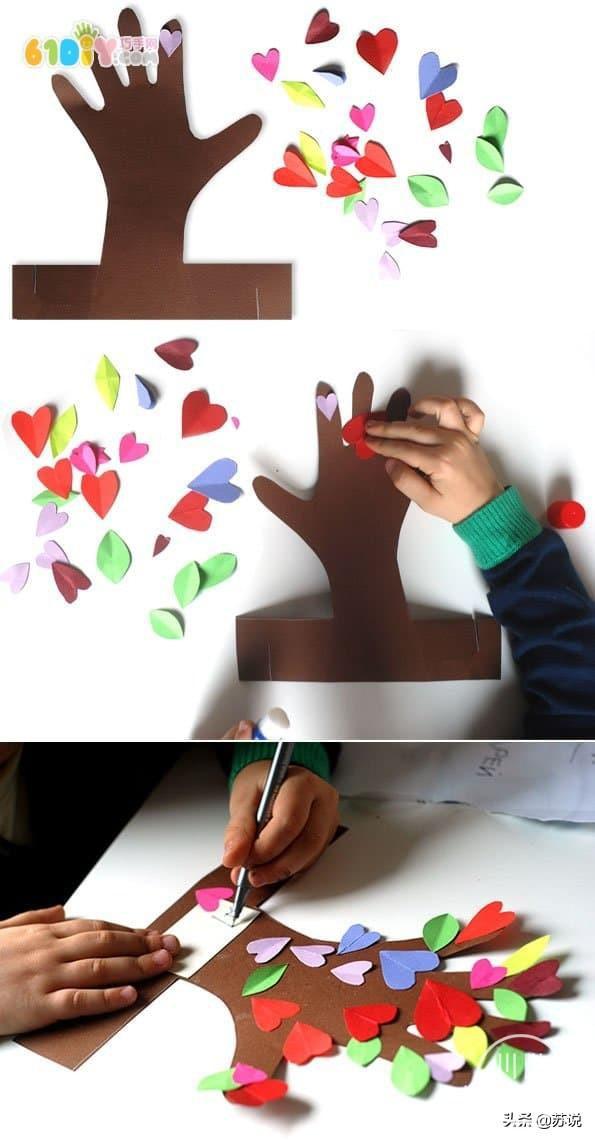 创意幼儿园儿童手工DIY五指树,纸艺教程,宝妈幼师文案亲子必备-4.jpg
