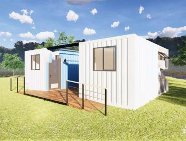 白蓝概念集装箱公共卫生间