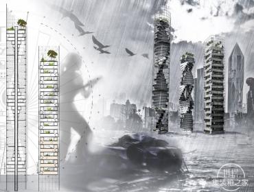 灾后应急概念设计集装箱摩天楼